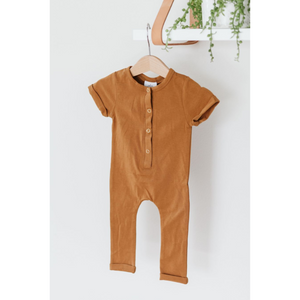 Short Sleeve Henley Romper - Gold