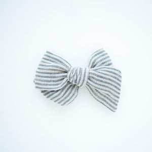 Natural Stripe Linen Bow