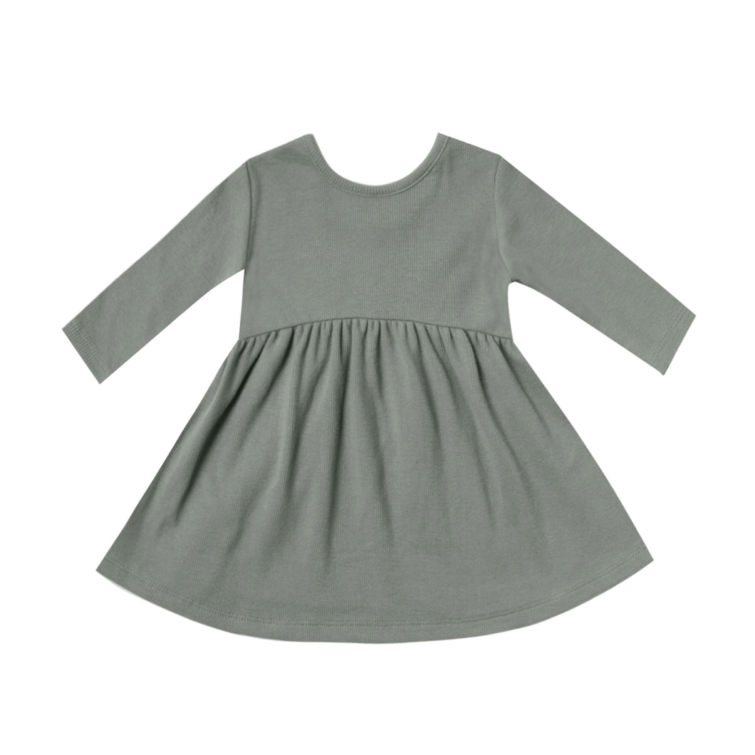 Ribbed Longsleeve Dress - Eucalyptus