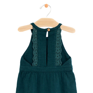 Crinkle Cotton Lace Back Romper - Teal