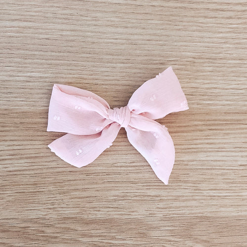 Blush Swiss Dot Bow