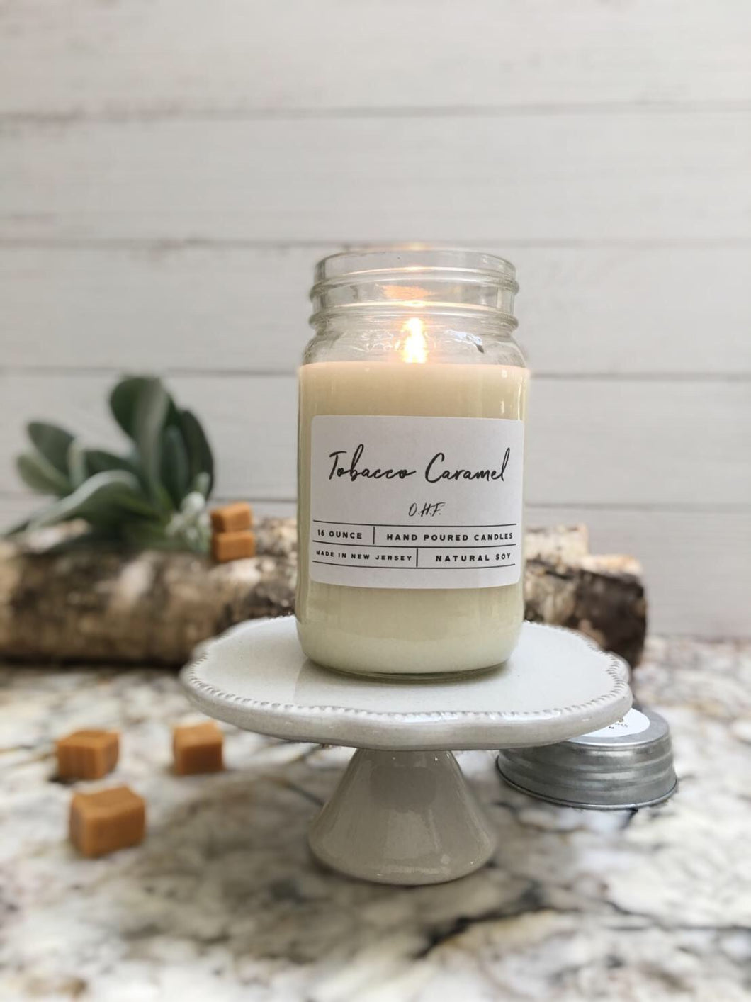 Tobacco and Caramel  Soy Wax Candle