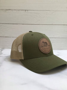 Oak Hill Farms Hat with Leather logo