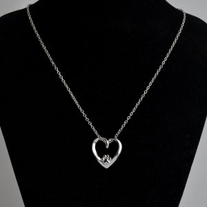Heart Paw Silver Plate Necklace - Puppy Loves Fashion