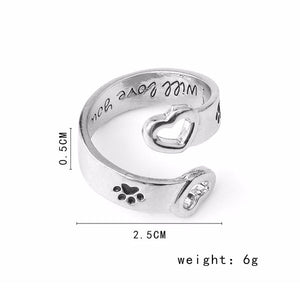 I Will Love You Forever Paw Print Ring - Puppy Loves Fashion
