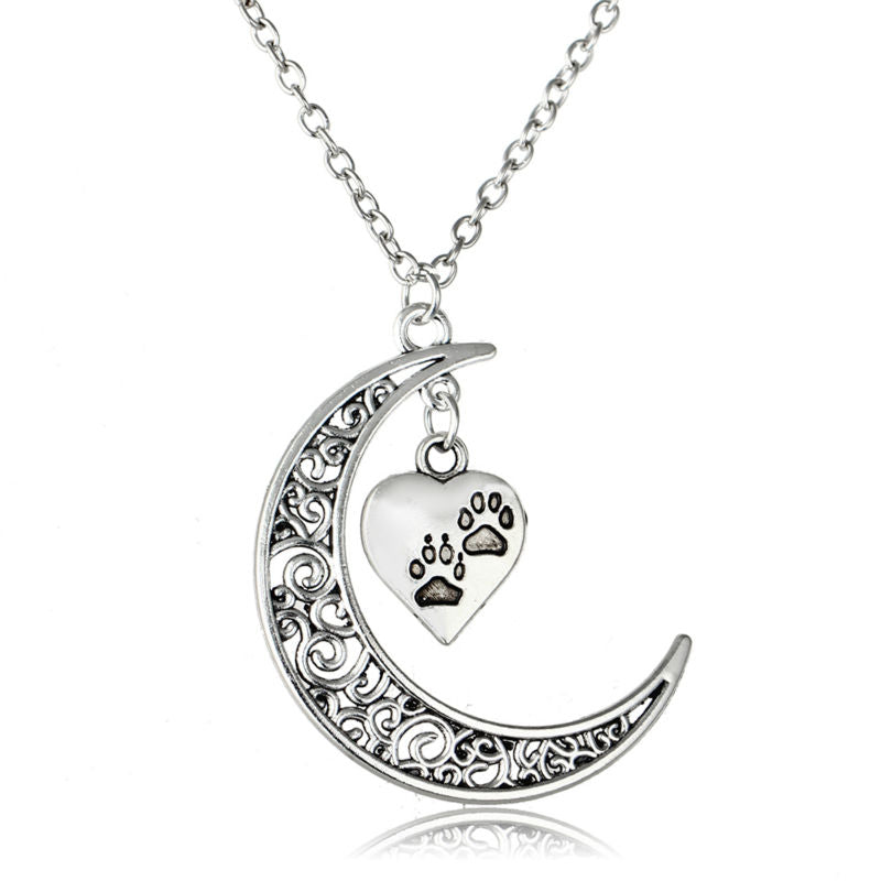 Lovely Moon Heart Pendant Necklace - Puppy Loves Fashion