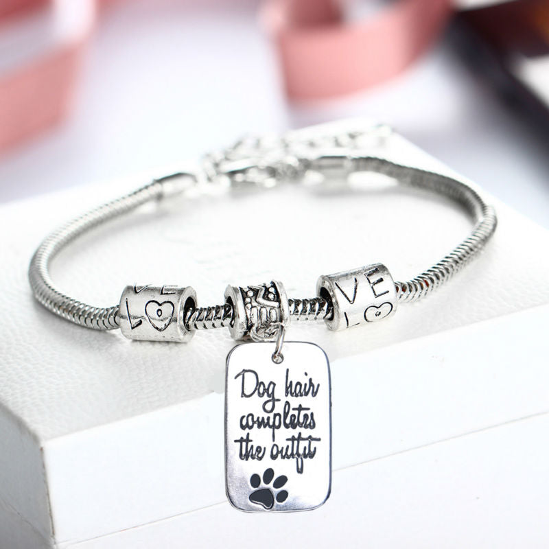 Dog Hair Completes The Outfit Fashion Charm Bracelet - Puppy Loves Fashion