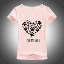 I Love Animals Heart-Shaped  Footprints T-Shirt - Puppy Loves Fashion
