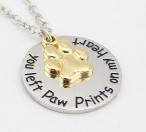 You Left Paw Prints Pendant Necklace - Puppy Loves Fashion