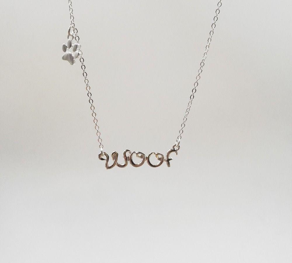 Woof Necklace with Paw Print - Puppy Loves Fashion