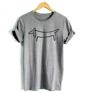 Dachshund Dog Print Cotton Tshirt - Puppy Loves Fashion