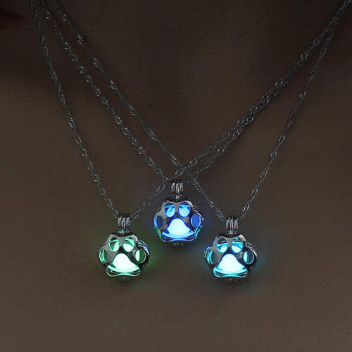 Glow in the Dark Dog Paw Pendant Necklace - Puppy Loves Fashion