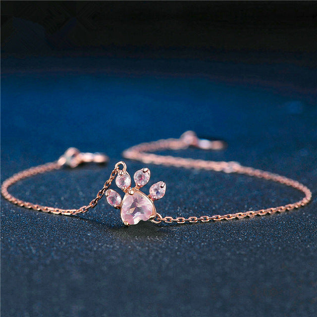 Necklace Rose Pawprint - Puppy Loves Fashion
