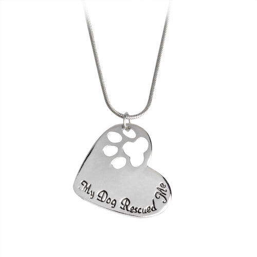 My Dog Rescued Me Pendant Heart Necklace