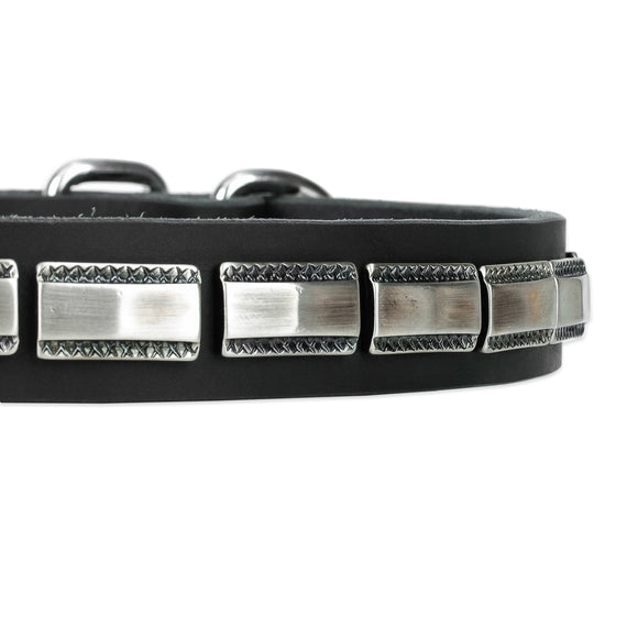 Leather Dog Collar With Chrome Plated Decor - DogSports4u