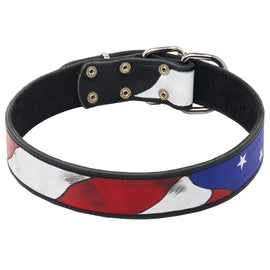 American Pride Leather Hand Painted Dog Collar - DogSports4u