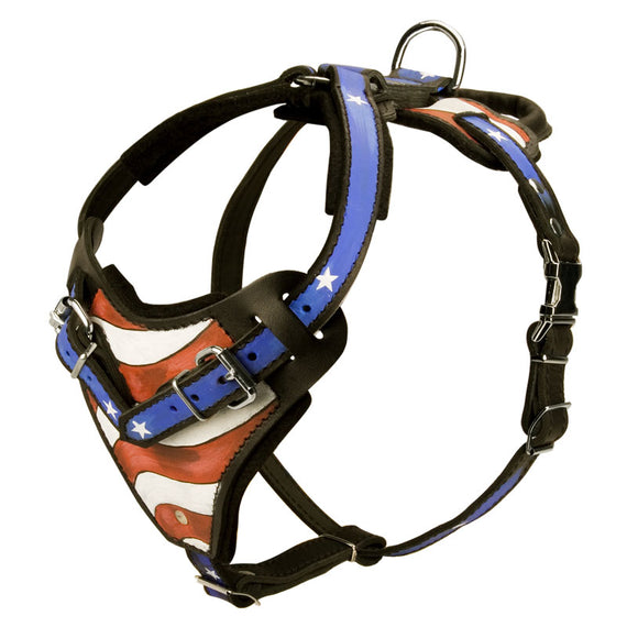 American Hero Adjustable Leather Harness Handpainted - DogSports4u