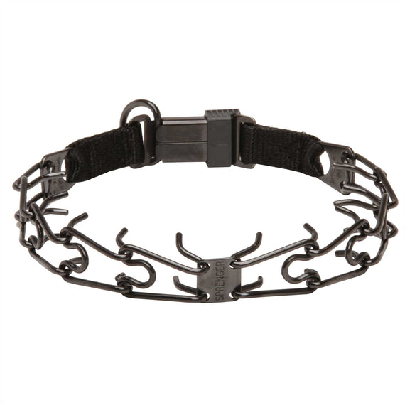 Herm Sprenger 3.2mm Black Stainless Steel Dog Pinch Collar with Click Lock Buckle - DogSports4u