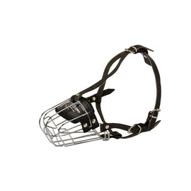 Well-Ventilated Metal Wire Basket Muzzle with Felt Padded Nose - DogSports4u