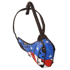 """American Flag"" Hand Painted Leather Dog Muzzle - DogSports4u"