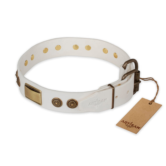 Artisan White Leather Dog Collar with Old Bronze Look Plates and Circles - DogSports4u