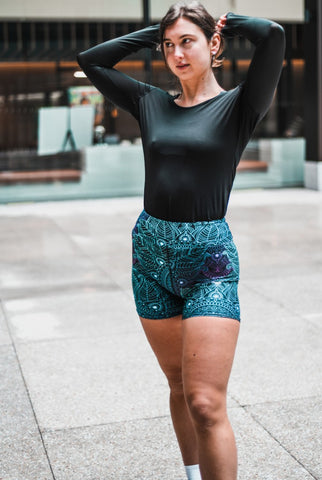 Midnight Mandala High Waisted Shorts