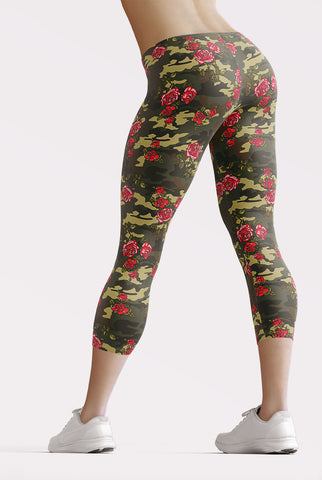Image of Camouflage Roses Capri Leggings