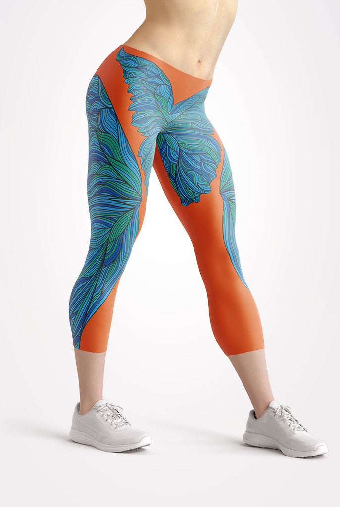 Butterfly Dreams Orange Capri Leggings