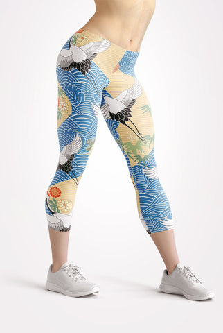 Image of Migrating Crane Capri Leggings