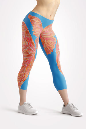 Butterfly Dreams Neon Capri Leggings