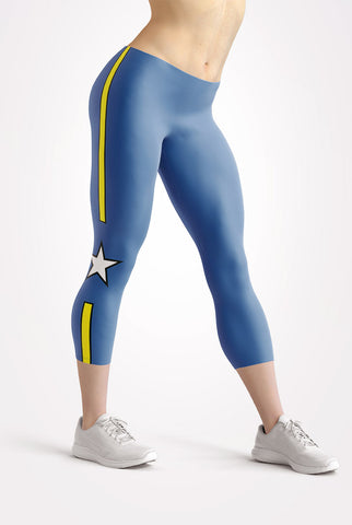 Blue All Star Capri Leggings
