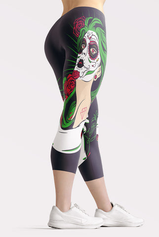 Image of Day of the Dead Girl Capri Leggings