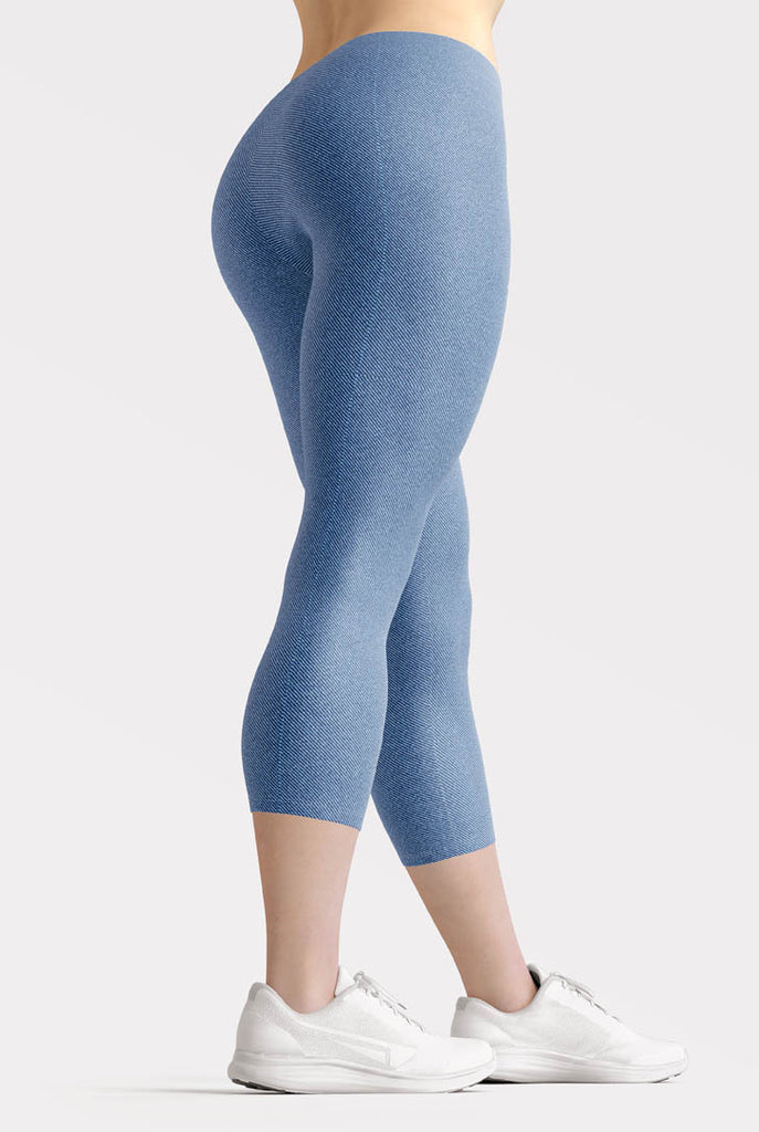Faux Blue Denim Jeans Capri Leggings