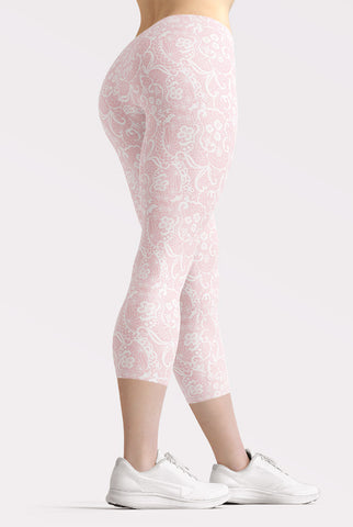 Image of Pink Faux Lace Capri Leggings