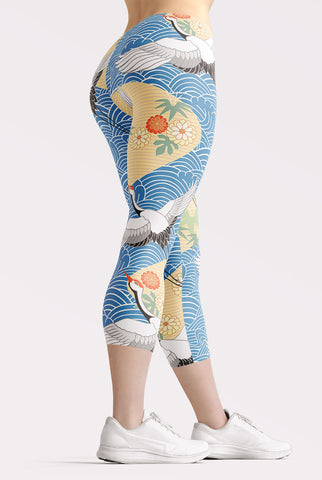 Migrating Crane Capri Leggings