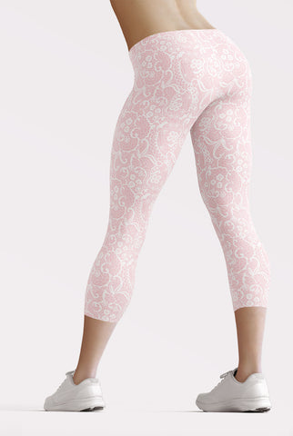 Pink Faux Lace Capri Leggings