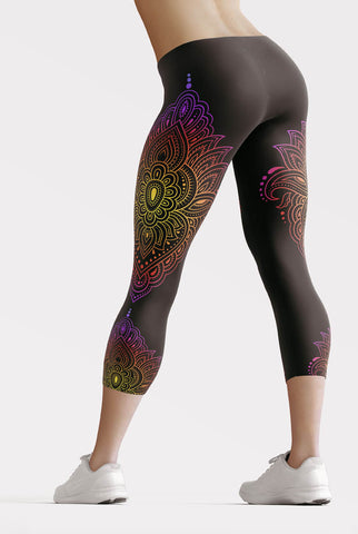 Sunset Mandala Capri Leggings