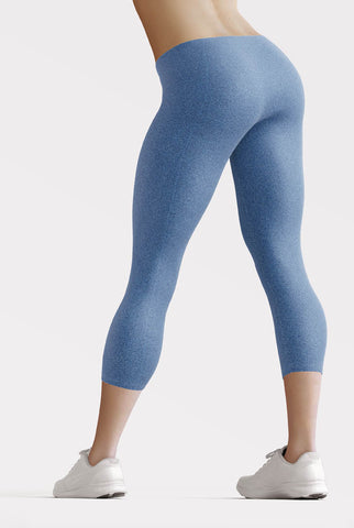 Image of Faux Blue Denim Jeans Capri Leggings