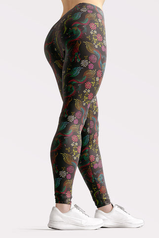 Image of Dragons and Flowers Leggings