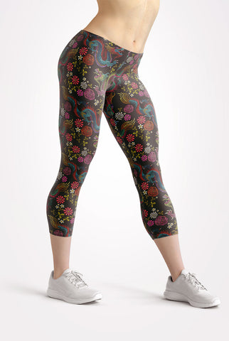 Image of Dragons and Flowers Capri Leggings