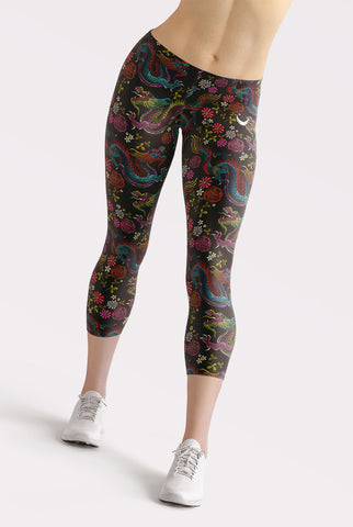 Dragons and Flowers Capri Leggings