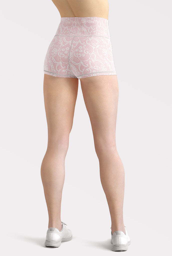 Pink Faux Lace High Waisted Shorts