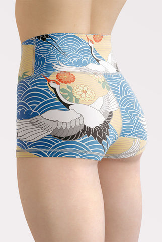 Migrating Crane High Waisted Shorts