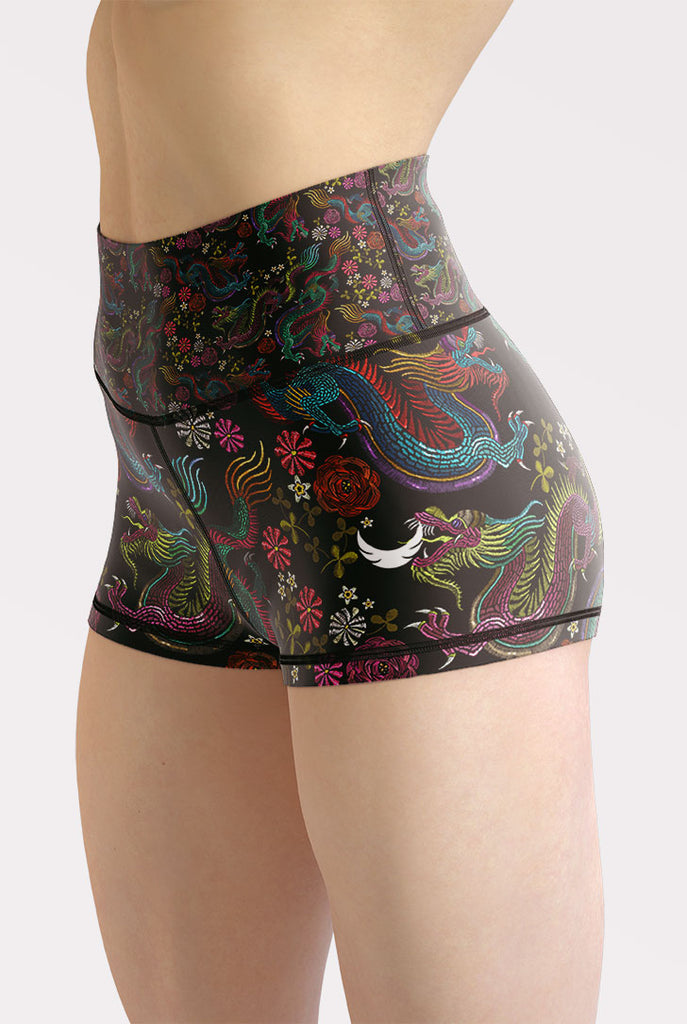 Dragons and Flowers High Waisted Shorts
