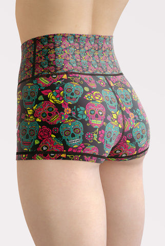 Sugar Skulls High Waisted Shorts