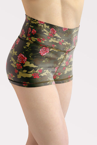 Camouflage Roses High Waisted Shorts