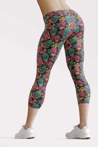 Image of Sugar Skulls Capri Leggings