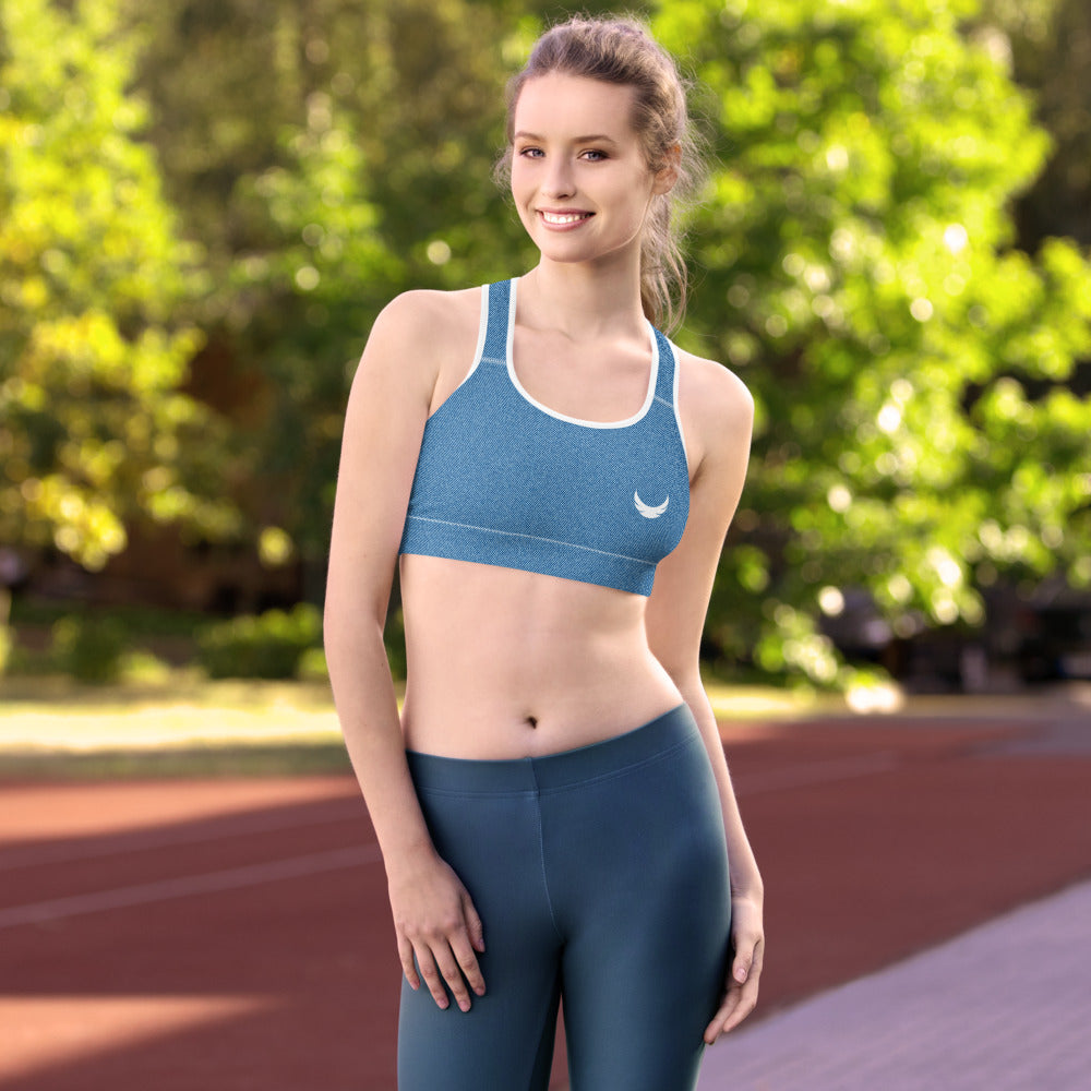 Faux Blue Denim Jeans Sports Bra
