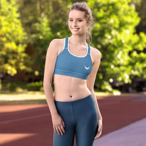 Image of Faux Blue Denim Jeans Sports Bra