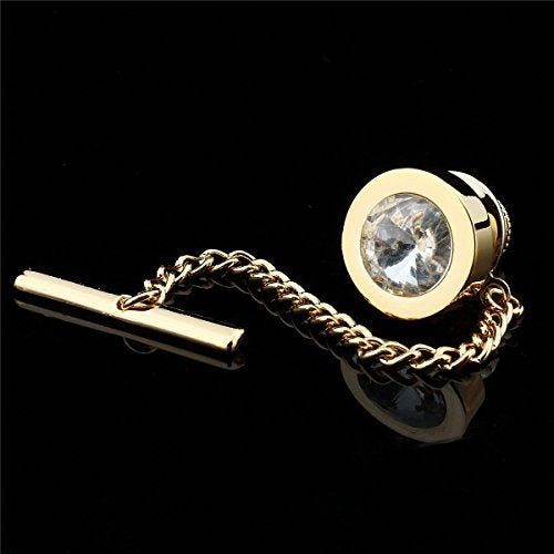 New Amazon.com: HAWSON Mens Tie Tack with Chain Round Crystal Wedding Business Accessories: Jewelry,  - Jdbowties